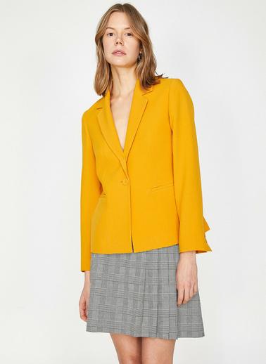 Koton Dügme Detayli Ceket Sarı